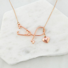 Sweetheart nurse stethoscope necklace in rose gold
