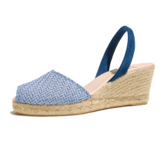 Morena braided leather sandals in blue