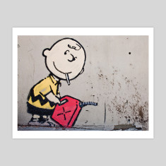 Charlie Brown by Banksy art print
