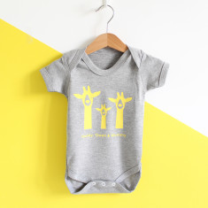 Giraffe Family, Personalised Baby Grow
