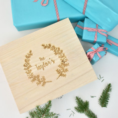 Personalised Wreath Wooden Christmas Decoration Box