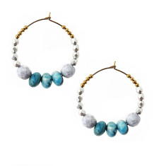 Sea Sediment Jasper and Czech Glass beaded hoop earrings