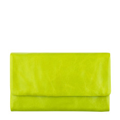Audrey leather wallet in lime green