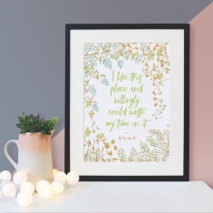 Housewarming Shakespeare I like this place quote floral print