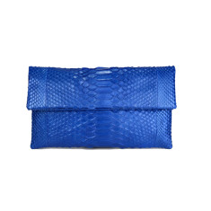Metallic sapphire python leather classic foldover clutch bag