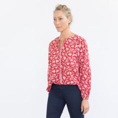 Mia ruby balloon sleeve top with tassel ties