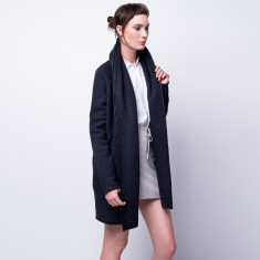 Leather trim open front over coat - Charcoal