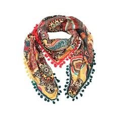 Lulu silk scarf with pom pom trim