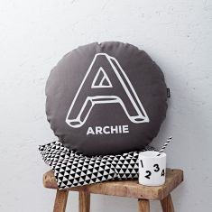 Personalised Grey Round Letter Cushion