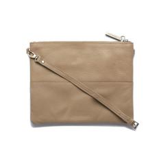 Jules clutch shoulder bag in dusty linen