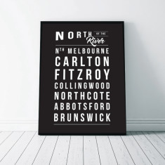 Melbourne Suburbs Wall Art Print - North of the River