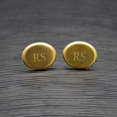 Men's Matte Finish Brushed Gold Oval Cufflinks