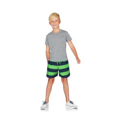 Boys Boardshorts - Navy & Green Stripes