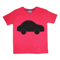 Kids' chalkboard t-shirt in red car design
