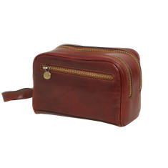 Cinque brown leather toiletry bag