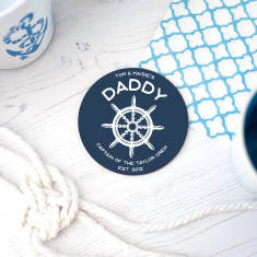 Personalised 'Captain' Daddy Round Coaster