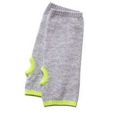 Cashmere grey wrist warmers with yellow neon trim
