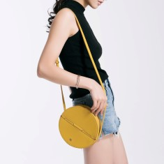 Leather Circle Box Shoulder Bag In Yellow