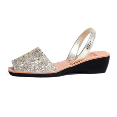 Gracia leather sandals in bubbly glitter