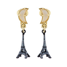 Eiffel tower by night under the moon Clip On earrings