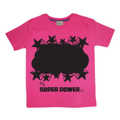 Kids' chalkboard t-shirt in pink super power design