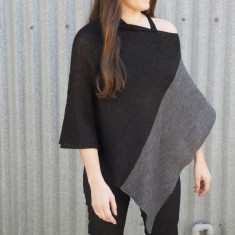 Two Tone Wool Poncho