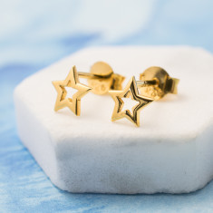 Gold plated cut out star studs