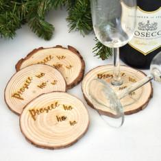 Prosecco Ho Ho Ho Christmas Wooden Coasters