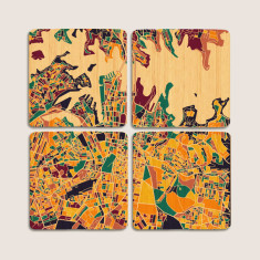 Aerial map of Sydney, NSW bamboo coasters (set of 4)