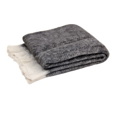 Luxury mohair blend throw in charcoal
