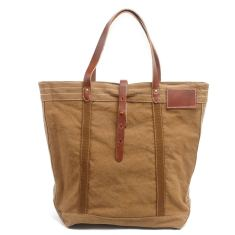 Tan canvas tote/shopping bag with leather handle