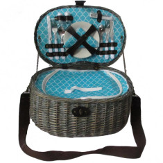 Lindeman wicker picnic basket for 2