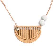 Natural bamboo rock bead necklace