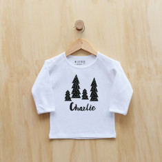 Personalised Christmas Monochrome Trees long sleeve t-shirt