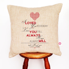 I loved you yesterday personalised cushion cover