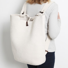 Santorini Market Backpack in Cream