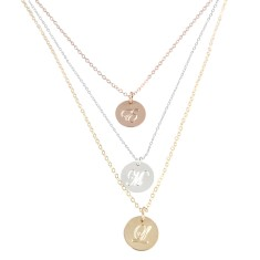 Small alphabet disc charm necklace in sterling silver, rose gold and yellow gold.