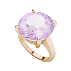 Round Brilliant Cut Pink Amethyst Cocktail Ring (Rose Gold)