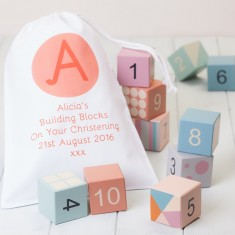 Pastel Wooden Building Blocks in a Personalised Bag