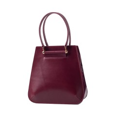 Red leather shoulder bag tote bag