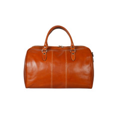 Small Albertis leather weekender bag in tan