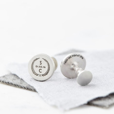 Personalised Solid Sterling Silver Groom Cufflinks