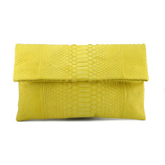 Lemon yellow python leather classic foldover clutch