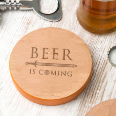 Coloured Edge 'Beer Is Coming' Quote Coaster