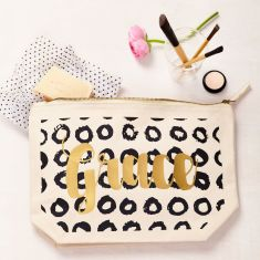 Personalised Black And Gold Circles Pouch