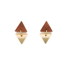 Brass Inlay Triangle Post earrings