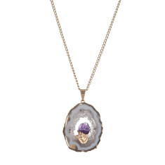 Natural Geode Crystal with Mini Amethyst Pendant Necklace