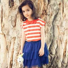Girl's red striped t-shirt with collar