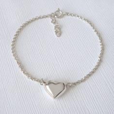 Sterling Silver Puffed Heart Bracelet