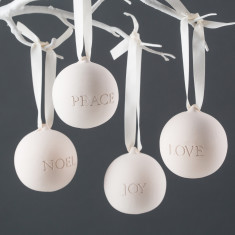 Engraved Love, Peace, Noel And Joy Ceramic Baubles